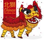 Traditioneller Chinese Nord-Lion Dancers mit Konfettis, Vektor-Illustration Lizenzfreie Stockbilder
