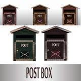 Traditioneller an der Wand befestigter Metallbriefkasten Klassischer Postkasten für Post und Korrespondenz Lizenzfreie Stockbilder