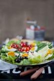 Traditioneller französischer MittelmeerKücheteller, Nicoise Salat Stockbilder