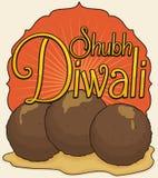 Traditioneller Fried Gulab Jamun im Sirup für Diwali-Feier, Vektor-Illustration Lizenzfreie Stockbilder