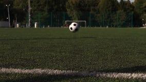 Traditioneller Fußball auf Spielplatz des grünen Grases stock footage
