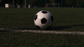 Traditioneller Fußball auf Spielplatz des grünen Grases stock video