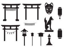 Traditioneller Gegenstand des schwarzen Schattenbildes in Japan, in Japan-Tor und in MO lizenzfreie abbildung