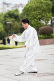 Traditioneller gekleideter Mann, der Tai Chi in einem Park, Yangzhou, China übt Lizenzfreies Stockbild