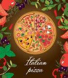 Traditioneller italienischer Pizzavektor Stockfotos