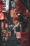 Traditioneller Japaner versteckte Mikrostangenstraße Omoide Yokocho alias die Urin-Gasse in Tokyo stockfoto