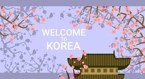 Traditioneller Korea-Tempel oder -palast über blühendem Plakat Sakura Tree Background Welcome Tos Korea Stockfotos