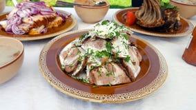 Traditioneller Lebensmittelteller Transylvanian Stockfotos