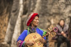 Traditioneller Musiker China lizenzfreie stockbilder