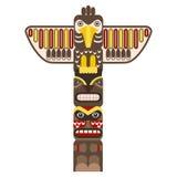Traditioneller religiöser Totempfahl mit Tier Vektor stock abbildung
