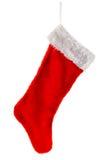 Traditioneller roter Weihnachtsstrumpf Stockfotos