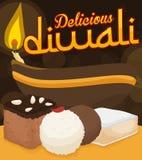Traditioneller Satz von Nachtischen und von beleuchtetem Diyah für Diwali-Feier, Vektor-Illustration Stockbild