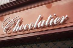 traditioneller Schokoladenspeicher Signage in Frankreich Stockbilder