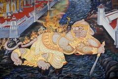 Traditioneller siamesischer Kunstanstrich in Wat Phra Kaew Lizenzfreie Stockfotos