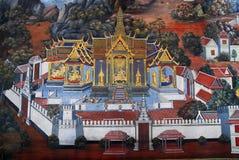 Traditioneller siamesischer Kunstanstrich in Wat Phra Kaew Lizenzfreies Stockfoto