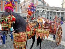 Traditioneller sizilianischer Wagen stockfoto