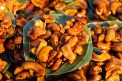 Traditioneller thailändischer süßer Teller von den Acajounüssen Lizenzfreies Stockfoto
