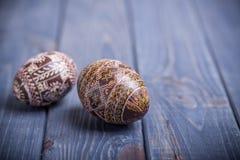 Traditioneller ukrainischer russischer Hintergrund Ostereies Stockfoto