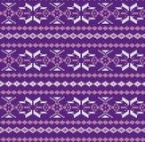 Traditioneller Winter gestricktes Muster mit Schneeflocken Stockfotos