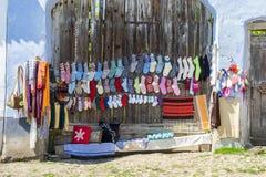 Traditioneller Wollsockenverkauf Stockfotos