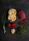 Traditionelles asiatisches Nudel lagman mit Gemüse und Fleisch Lizenzfreie Stockfotografie