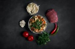 Traditionelles asiatisches Nudel lagman mit Gemüse und Fleisch Lizenzfreie Stockbilder