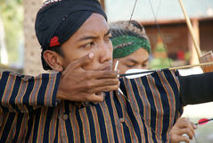 Traditionelles Bogenschießen in Yogyakarta nannte Jemparingan Stockbilder