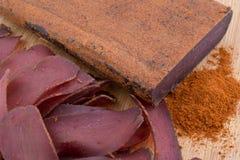 Traditionelles bulgarisches Trockenfleisch Lizenzfreies Stockfoto