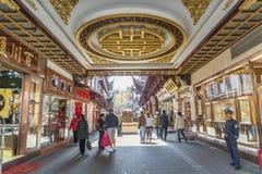 Traditionelles Einkaufsviertel in Shanghai-Porzellan Stockfotografie