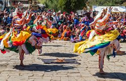Traditionelles Festival in Bumthang, Bhutan lizenzfreies stockbild
