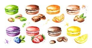Traditionelles Franzosen Kuchenmacaron oder -makrone, bunte Plätzchen mit Früchten, Beeren und Nüsse eingestellt Aquarell Hand ge Lizenzfreie Stockbilder