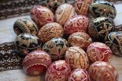Traditionelles gemaltes Osterei von Bucovina, Rumänien Lizenzfreies Stockfoto