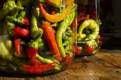 Traditionelles gerütteltes Gelbes, grün, rot, Peperoni Lizenzfreies Stockbild