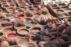 Traditionelles Gerberei iin Fez, Marokko Lizenzfreie Stockbilder