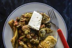 Traditionelles griechisches Rezept Fasolakia Giaxni der grünen Bohnen Stockfotos