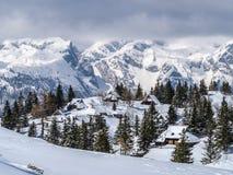 Traditionelles Häuschen auf Velika-planina im Winter Lizenzfreie Stockfotos