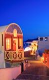 Traditionelles Haus im Oia-Dorf auf Santorini Stockfoto