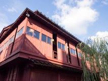 Traditionelles japanisches Holzhaus Stockbilder