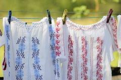 Traditionelles Kleidungshängen Stockfoto
