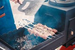 Traditionelles kochendes Fleisch auf dem Grill Lizenzfreie Stockfotografie