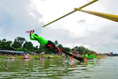Traditionelles langes Ruderwettkampffestival Langsuan, Thailand lizenzfreies stockbild