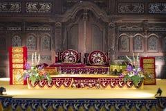Traditionelles malaysisches Brautbett lizenzfreie stockbilder