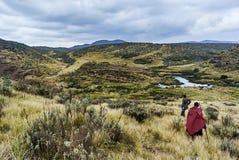 Traditionelles Masai und Förster, die in Krater moutain wandert stockbild