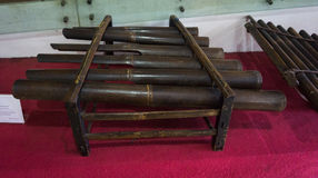 Traditionelles Musikinstrument hergestellt von Bambusfoto eingelassenem Jakarta Indonesien Stockfotos