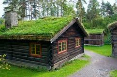 Traditionelles norwegisches Haus mit Grasdach Das norwegische Museum lizenzfreie stockfotos