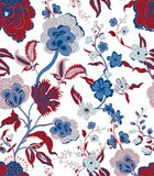Traditionelles orientalisches nahtloses Blumenmuster Weinlese blüht Hintergrund Dekorativer Verzierungshintergrund für Gewebe lizenzfreie stockbilder