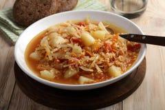 Traditionelles polnisches Suppe kapusnyak Lizenzfreies Stockfoto