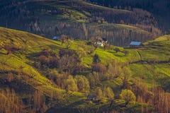 Traditionelles rumänisches Gebirgsdörfchen Stockfotografie