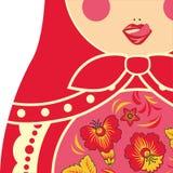 Traditionelles russisches Nistenpuppe matryoshka, das ihre Lippen leckt stock abbildung