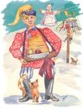 Traditionelles russisches Shrovetide Handgemaltes Aquarellbild: Possenreißer, Plüschtier des Winters, russische Frau vektor abbildung